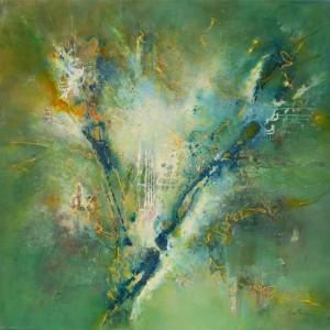 Islands in the Stream 122 x 122 cm acrylic on canvas.