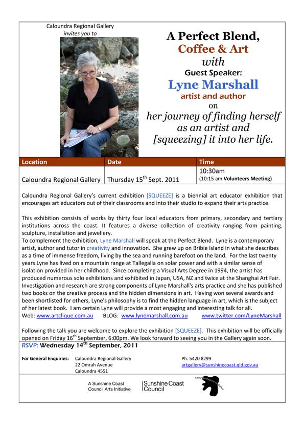 Caloundra Regional Gallery talk by Guest speaker Lyne Marshall