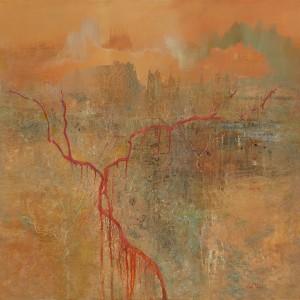 Ancestral lands 122 x 122 cm acrylic on canvas